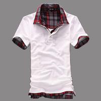 2014 Mens Turn Down Collar T Shirt Men's Short Sleeve Slim Fit Top Tees For Men Black Grey White Plus Size M-XXL