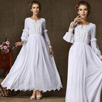 2014 women summer dress new long-sleeved dresses Heavy embroidered flower fairy dress mopping pearl collar evening dress white