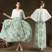 2014 women summer dress big hit color shawl cloak fake piece dress loose big yards party dresses vestido de festa print white