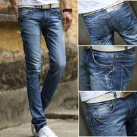 famous brand men straight jeans slim jeans plate mens pants casual autumn denim trousers  (6316)