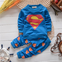 hero superman unisex baby's sets children spring autumn baby girls boys fashion sets long sleeve sets KS050R