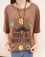 FREE SHIPPING  2014 summer women's sesame street letter short-sleeve T-shirt 3