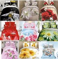 dropship brand 3D effect 100%cotton flower berry princess wedding yellow pink queen printed duvet quilt cover set bedding set