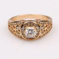 Wholesale Lowest Price Shiny 18k Yellow Gold Filled womens Ring SZ 7 Zircon Wedding Rings GF Jewelry Wedding Jewelry Free S/H