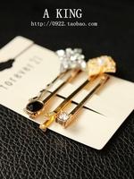 4 pieces F21 Diamond Flowers Gold Silver Color Hair Barrette Edge Folder Jewelry Accessories