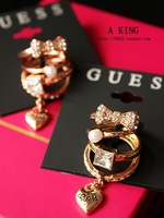 4 pieces Butterfly Knot Heart-shaped Diamond Pearl Ring Jewelry Accessories
