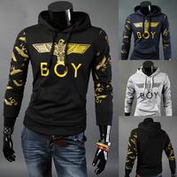2014 Autumn Winter Men's Gold Printing Hoody Fashion Boy Eagle Print Pullover Jacket Men's Coat Navy Black Grey Plus Size M-2XL