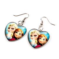 New 2014 Hot cartoon High quality Frozen Anna Elsa Princess Heart glass earring Fashion frozen children jewelry Wholesale DA380