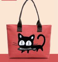 Wholesale 2014 explosion models cartoon cat canvas shoulder bag Korean fashion casual hand bag handbag