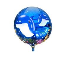 wholesale 18inch round dolphin balloons for birthday party Aluminium foil balloons 10pcs/lots 45*45cm cartoon helium balloons