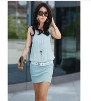 2014 Hot sale fashion new women dress Fold collar OL commuter package hip dress sleeveless knit vest dress
