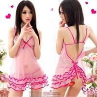 free shipping Night Fire  lingerie pink bud silk gauze uniform transparent temptation to suit my pajamas students princess dress
