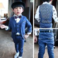 New arrival 2014 Children's clothing child spring autumn suits+ vests+pants 3 pieces Dress suit boys deep blue Blazers&suit sets