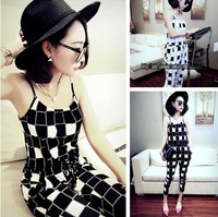 FREE SHIPPING 2014 women's block plaid spaghetti strap loose plus size strapless jumpsuit female jumpsuit