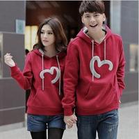 FREE SHIPPING 2014 lovers autumn winter outerwear lovers fleece sweatshirt hooded pullover