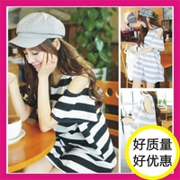FREE SHIPPING 2014 summer women's fashionable casual loose sweet fresh stripe one-piece dress