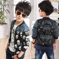 Free Shipping Children coat boys jacket 2014 new Korean children denim Patchwork Leather locomotive leather