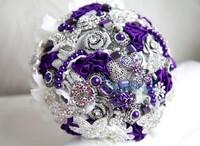 2014 New Arrivel,Elegant Customized Luxury Artifical Pearl Beaded Brooch Silks Crystal Bridal Wedding Bouquet Purple and White