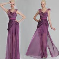 Custom Made Elegant Cap Sleeve Light Purple See Through Lace Applique Long Chiffon 2014 Evening Dresses
