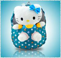Hot selling 2014 cute KT cat bags fashion dot canvas school bags lovely Children plush cartoon schoolbag backpacks mochila