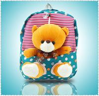 Hot selling 2014 cute bear bags fashion dot canvas school bags lovely Children plush cartoon schoolbag backpacks mochila