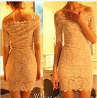 Free shipping fashion new women casual party dress Korean sexy nightclub elegant strapless lace collar lady dress