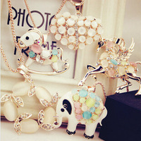 Buy 5 get 1 free! Promotion! Wholesale! Fashion jewelry women high quality opal rhinestone animal/flower alloy necklaces SN542