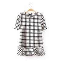 2014 New summer Fashion short Sleeve Shirt   Lady Black Plaid  O-Neck Blouse  Free shipping    K73