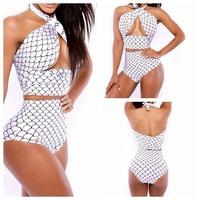 Drop Shipping 2014 Sexy Bikini Hot Sale Swimwear Bikinis Set Swimsuit Beach Bikini Dress Fish Scales White beachwear S-XL