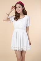 Women summer dress 2014 desigual MINI cute ladies party dresses vestido de festa white dress short sleeve chiffion dress