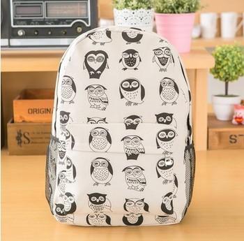 Бесплатная доставка сова рюкзак мода сова печать рюкзак подросток школа рюкзак с сова печать мода мешок школы