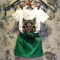 Free Shipping Wholesale (5 Size/Lot) New 2014 Childrens Kids Girls Summer Fashion  Owl Short-Sleeved T-Shirt