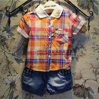 Free Shipping Wholesale (5 Size/Lot) New 2014 Childrens Kids Girls Summer Fashion  Pocket Lace Plaid Shirt