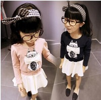 Free Shipping Wholesale (5 Size/Lot) New 2014 Childrens Kids Girls Autumn Fashion  Cute Cat Bottoming Dress