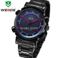 Hot WEIDE Men's Sports Military Analog Digital Dual Time Full Steel Watch 3ATM Waterproofed LED Display 1 Year Guarantee/1101
