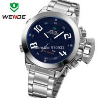 Trendy WEIDE Dual Time Men LED Display Analog Digit Waterproof Multi-functional JAPAN Quartz Sports Watch 3ATM IP Black/WH1008