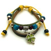 Hot fashion antique black cow leather bracelet Braided leather Clover charms bracelet Men jewelry