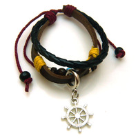 Hot fashion antique cow leather bracelet Braided leather Rudder charms bracelet Men jewelry