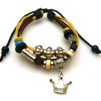 Hot fashion antique black cow leather bracelet Braided leather crown charms bracelet Men jewelry