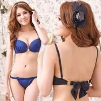 New 2014 women bra push up sexy Brassiere front Closure hot sale underwear lingerie gather bra sets black blue
