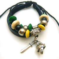 Hot fashion antique cow leather bracelet Braided leather fighter Warrior  charms bracelet Men jewelry of Helmet Shield Sword