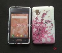 New arrive flower soft silicone Gel Tpu cover case For LG Optimus L4 II E440 E445