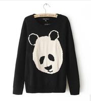 2014 New Autumn Winter Fashion Cute Panda Embroidery Women Short Sweater Round Collar Long Sleeve Women's Knitwear Outerwear
