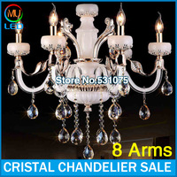 8 Arms Modern jade Crystal Chandelier candle lights White Lustre with CE UL and 3 Year Warranty (A CCSPBG6801-8) Free Shipping