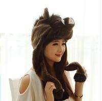 Warm Wild boar cartoon stuffed animal product models warm winter hat ear cap thickening performance props for adult & Children