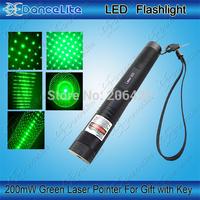 (303) Good Quality 200mw 532nm 303 Green Laser Pointer with Key Lock Green Light Teaching Laser Pen (1*18650)