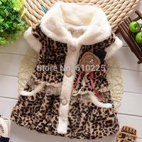 New 2014 Children Coats Girls Vest Leopard Fashion Girls Outerwear Vest Kids Warm Clothes Child Soft Winter Clothing