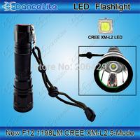 Free Shipping F12 USA CREE XM-L2 1198Lumens 16W 5-Mode SMO Waterproof Portable LED Flashlight Torch