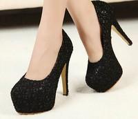 2014 Womens pattern bridal dress sexy ultra high heel wedding platform sexy Stiletto black bottom high-heels shoes pupms