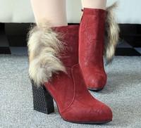 2014 Autumn Winter Warm high long snow boots artificial fox rabbit fur leather tassel women's shoes free shipping L035568